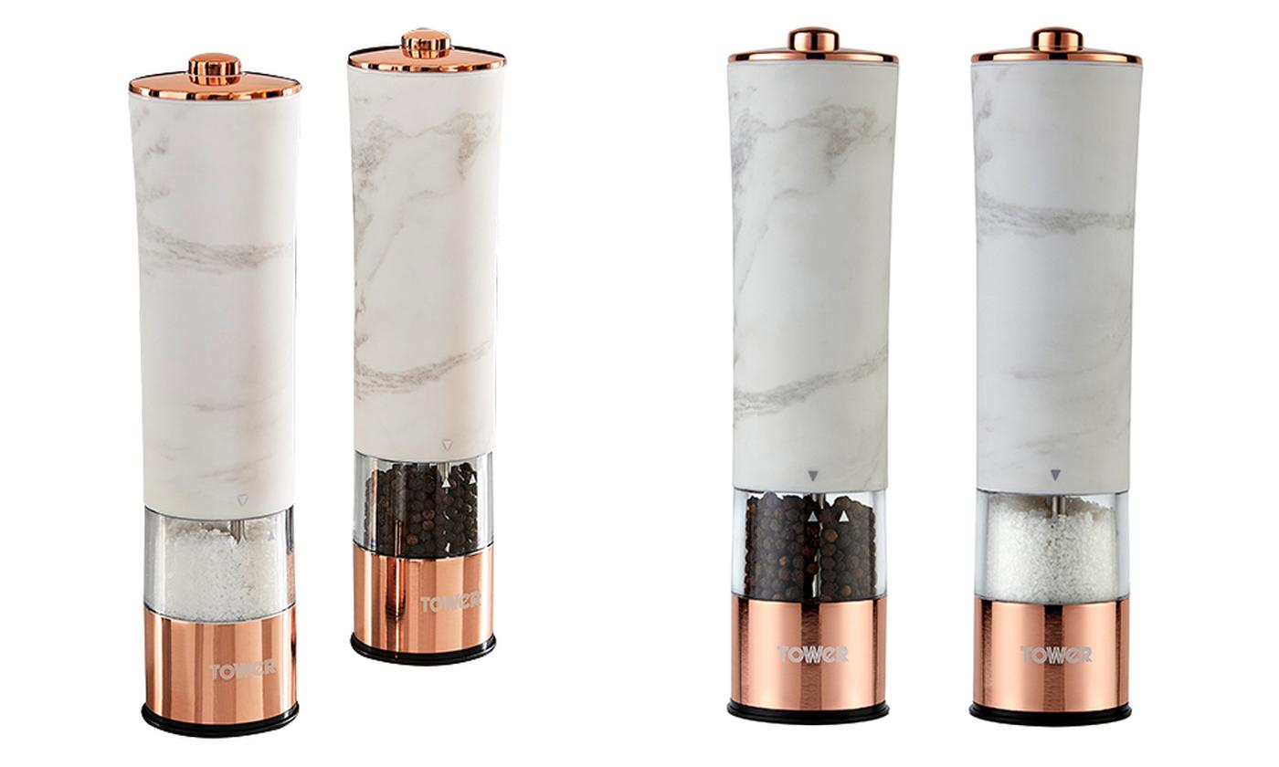 Tower White Marble Electric Salt and Pepper Mill