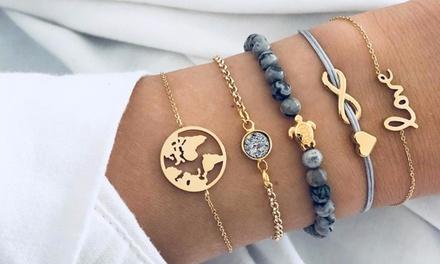 Five-Piece Charm Bracelet Set