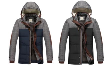 Parka style duffle coat à capuche fourrée pour homme