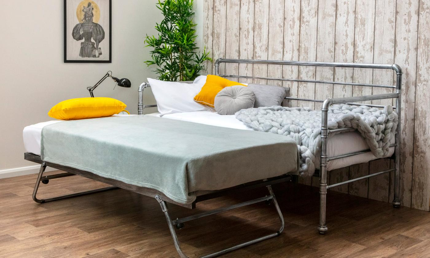 Industrial Metal Day Bed with Guest Trundle and Two Optional 5″ Deep Spring Mattresses from £225 (54% OFF)
