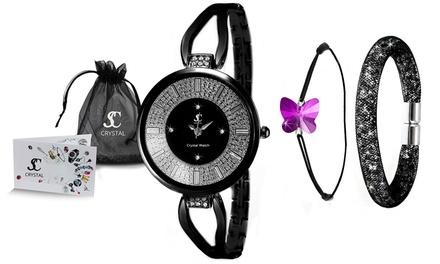 Orologio e braccialetti Sc Crystal Paris da donna con cristalli Swarovski®