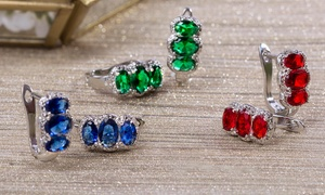 5.22 CTTW Lab Created Gemstone and Diamond Accent Earrings