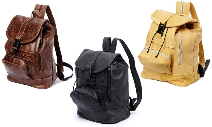 Leather Backpack with Convertible Strap | Groupon