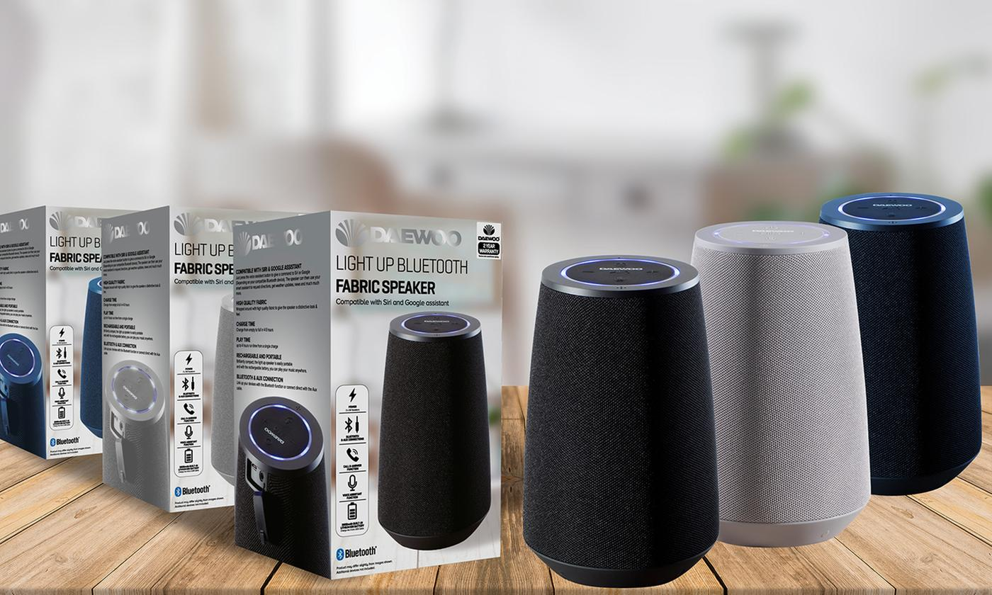 Daewoo Light Up Bluetooth Fabric Speaker Compatible With Siri and Google Assist