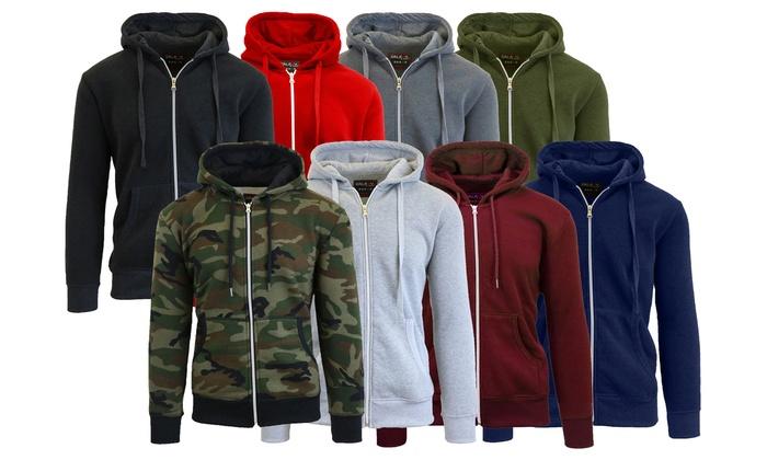 Up To 63 Off On Mens Fleece Lined Zip Hoodie Groupon Goods