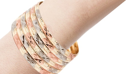 18K Gold-Plated 3- or 6-Pair Bangle Set