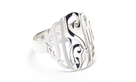 Sterling Silver Monogram Ring from Name Jewelry Spot