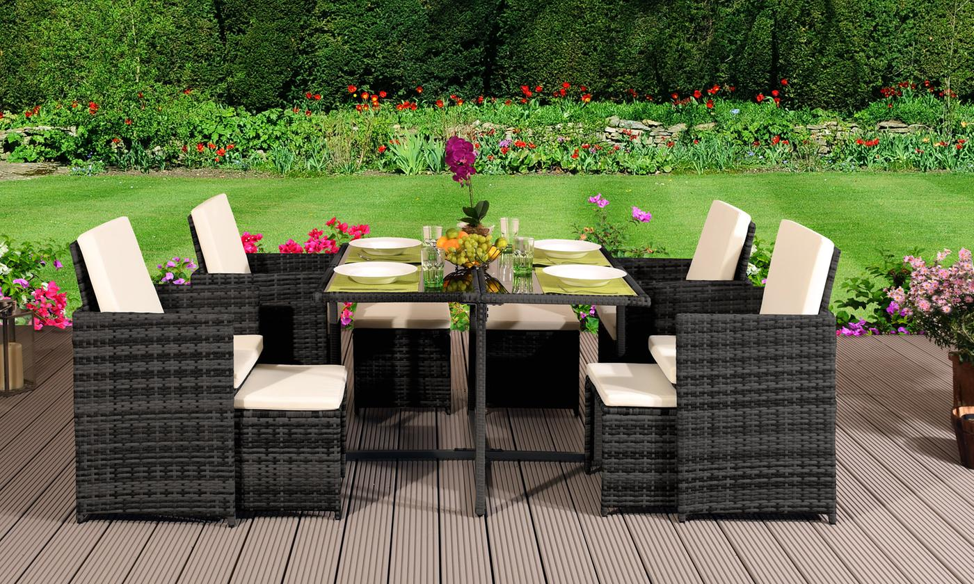 9-, 11- or 13-Piece Rattan-Effect Quality Cube Dining Set with Optional Cover (£629.99)