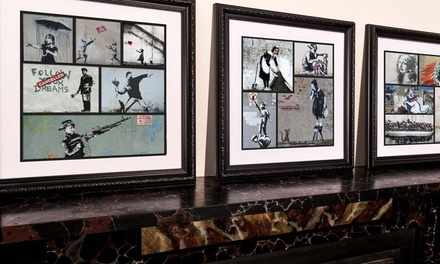 Banksy Collage 2016: Frame Canvas Print in Choice of Size £5.95-£11.95 (Up to 91% Off)