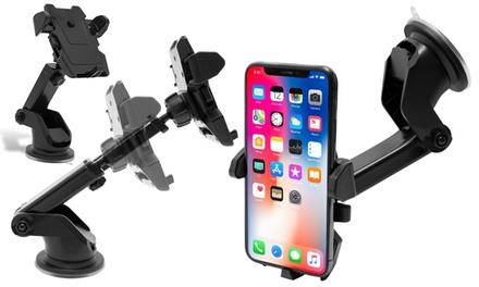 1x oder 2x verstellbare Auto Halterung mit zweistufigem Verschlusshebel fürs iPhone in Schwarz
