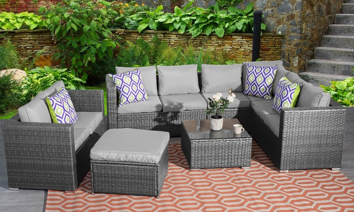 Yakoe Nine-Seater Rattan-Effect Outdoor Furniture Set with Optional Cover in Choice of Colour from £569.99