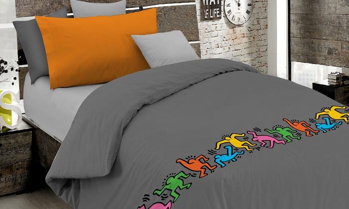 Lenzuola Keith Haring Matrimoniali.Copripiumino Singolo In Fantasia Keith Haring In 100 Cotone A 14 99 64 Di Sconto