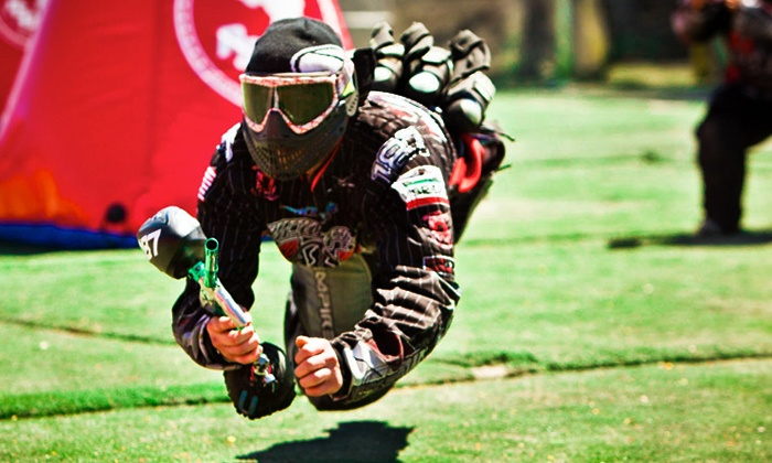 Paintball International - Multiple Locations: All-Day Paintball Package with a Gun and Mask for Up to 4, 6, or 12 at Paintball International (Up to 89% Off)