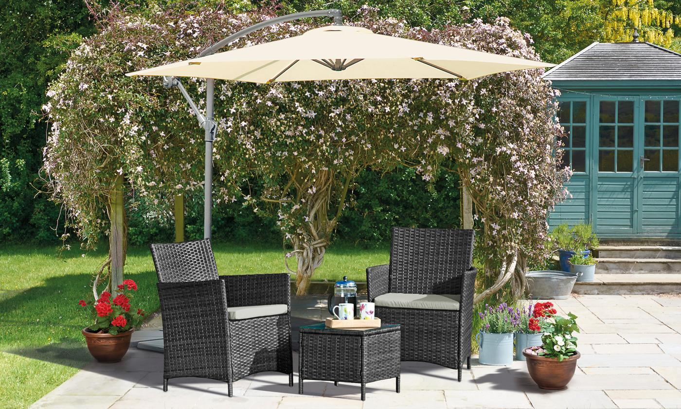 Seville Three-Piece Rattan-Effect Garden Furniture Set with Optional Covers (£99.98)