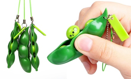 One, Two, Three or Four Squeezey Beans Stress Keychain Toys