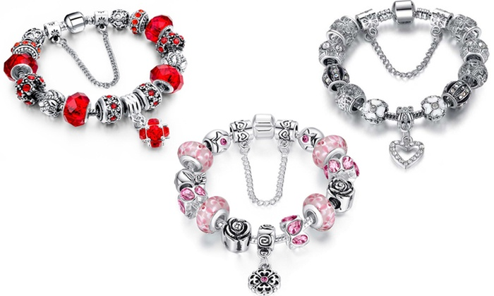 Up To 66% Off on Murano Glass Charm Bracelets | Groupon Goods