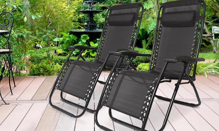Two Humlin Zero-Gravity Folding Chairs