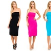 Women's Solid Colored Knee-Length Strapless Dress