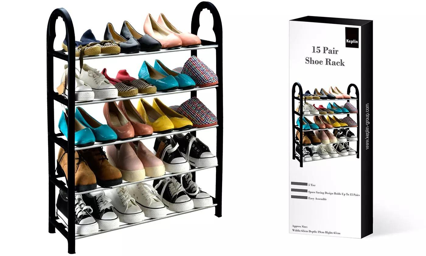 One or Two Five-Tier Compact Shoe Racks