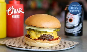 Chur Burger: Gourmet Burger + Glass of Wine or Pistonhead Lager for 1 ($15) up to 4 People ($58) at Chur Burger (Up to $108 Value)