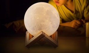 Color-Changing 3D Moon Lamp with Touch Sensor & Remote Control