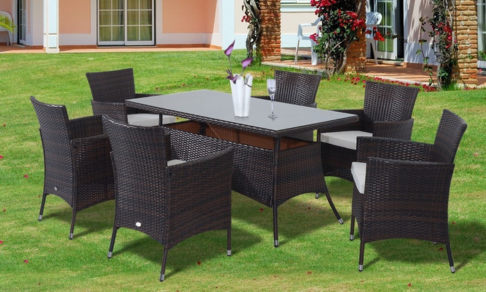 Outsunny rattan effect dining set groupon goods for Outdoor furniture groupon