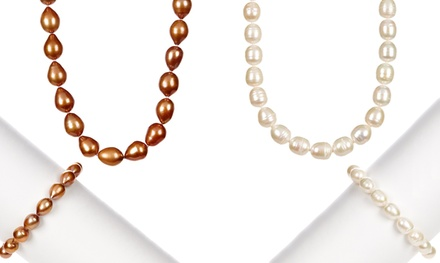 Genuine Freshwater Rice Pearl Necklace & Bracelet Set