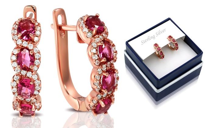 fa7ca530e 18K Rose Gold over Sterling Silver Ruby Hoop Earrings By MUIBLU Gems ...