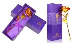 Plastic Long-Stem Rose in 24K Gold Plating with Gift Box
