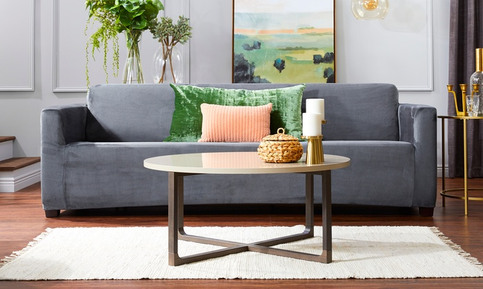 Brilliant Up To 67 Off On Velvet Plush Stretch Slipcover Groupon Goods Theyellowbook Wood Chair Design Ideas Theyellowbookinfo