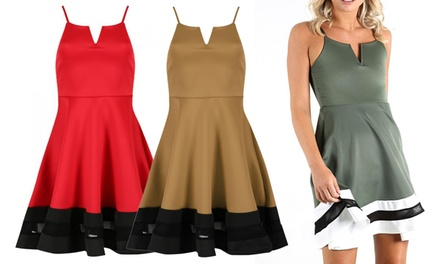 Strappy Mesh Insert Skater Dress in Choice of Size and Colour for £14.99