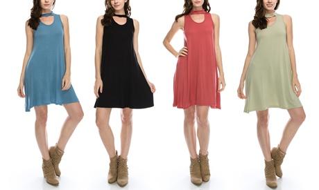 Nelly Women's Regular and Plus Size Peekaboo Mock Neck Tunic Dress 59aa7944-578f-11e7-95a5-002590604002