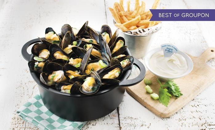 Chez Léon de Bruxelles, pour 1€ seulement, profitez de 12€ de réduction sur l'addition pour un repas d'au moins 2 pers.*