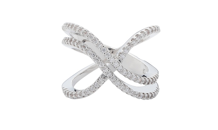 Swarovski Elements 18K White Gold Double X Ring