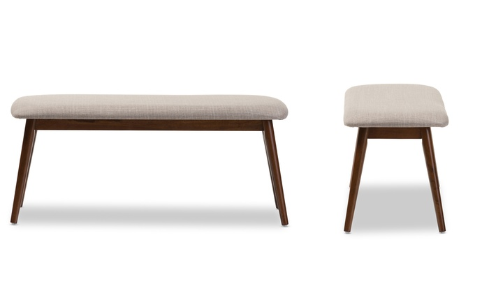 Up To 17 Off On Upholstered Wooden Bench Groupon Goods