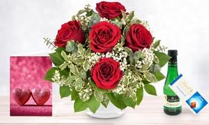 Blumenhaus Ehrend: Premium-Rosenstrauß in Rot oder Rosa mit Lindt Schokolade, Piccolo und individueller Grußkarte von Bluvesa (40% sparen*)