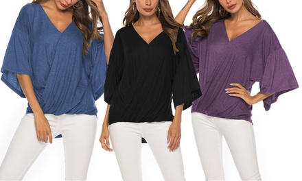 Lilly Posh Bell Sleeve Front Cross Over Knit Top. Plus Sizes Available.
