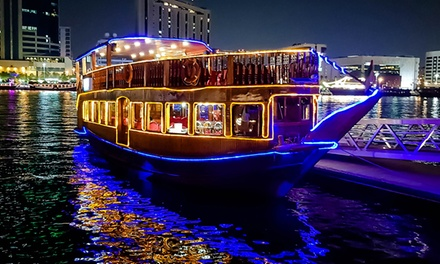 Two Hour Dubai Creek Dhow Cruise with Dinner, Soft Beverages and Three Live Shows for Up to Six at SBR Tourism