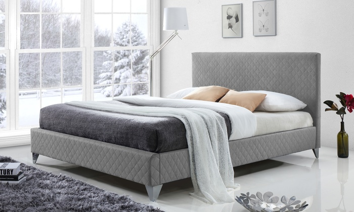 Harlow quilted platform bed groupon goods for Beds harlow