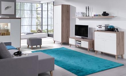 Set moderne San Remo kasten voor de woonkamer met tv meubel, kledingkast, dressoir en plank