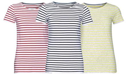 Camisetas de algodón con detalles de rayas Miles para mujer por 11,99 € (69% de descuento)