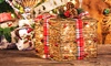 Wrapped Rattan Light-Up Present Decoration