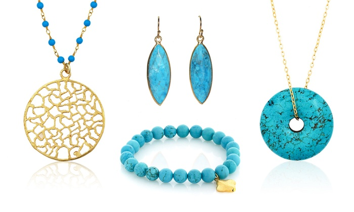 Liv Oliver Turquoise Jewelry: Liv Oliver Turquoise Necklaces, Bracelets, and Earrings from $24.99–$59.99.