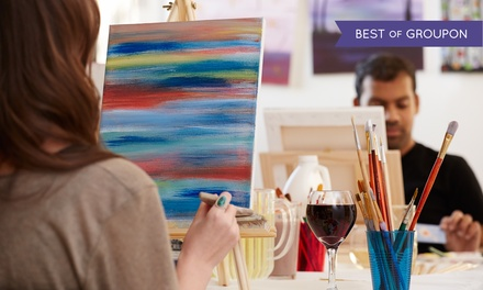 Painting class with wine canvas uncorked groupon for Groupon painting class