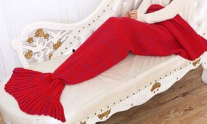Knitted Wool Mermaid Tail Blanket for Kids and Adults
