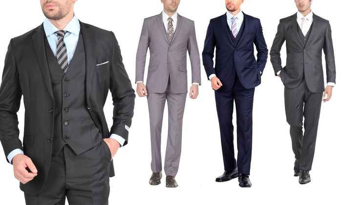 Stanzino Slim-Fit 3-Piece Suit | Groupon Goods