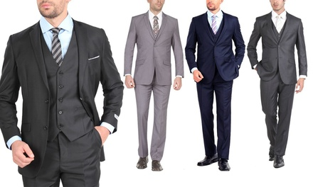 Stanzino Men's Slim-Fit 3-Piece Suit with 3 Free Ties