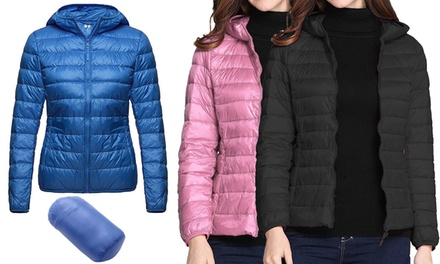 Women's FoldAway Padded Hooded Jacket Up to Size 20