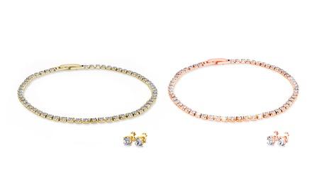 1x oder 2x Slimline Armband und Ohrringe in Weiß, Gold oder Rosa