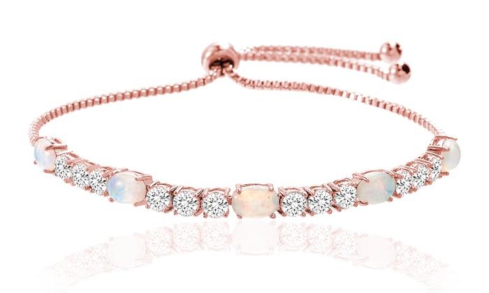Fiery Opal Tennis Bracelet Made With Swarovski Crystals